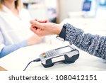 a customer making wireless or... | Shutterstock . vector #1080412151