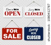 open and closed signs set... | Shutterstock .eps vector #1080412787