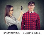 suspicious and attentive girl... | Shutterstock . vector #1080414311