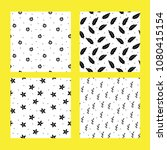 black and white set of seamless ... | Shutterstock .eps vector #1080415154