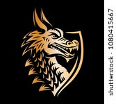 gold vector head of a dragon in ... | Shutterstock .eps vector #1080415667