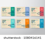 Stock vector premium quality fish labels set abstract vector packaging design or label modern typography and 1080416141