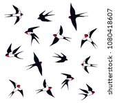 swallows a set of birds. hand... | Shutterstock .eps vector #1080418607
