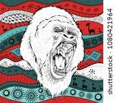 hand draw gorillas portra on...   Shutterstock .eps vector #1080421964