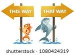 funny shark and goldfish near... | Shutterstock .eps vector #1080424319