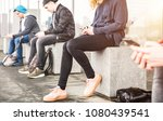 group of friends sitting and...   Shutterstock . vector #1080439541
