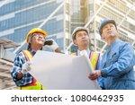 asian civil engineer team... | Shutterstock . vector #1080462935