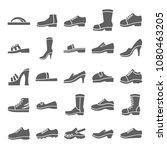 shoe icon set in trendy flat...