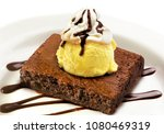 brownie with vanil ice | Shutterstock . vector #1080469319