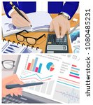 accountant works calculator ... | Shutterstock .eps vector #1080485231