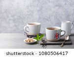 tea in mugs with british flag... | Shutterstock . vector #1080506417