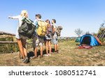 group of friends trekking at... | Shutterstock . vector #1080512741
