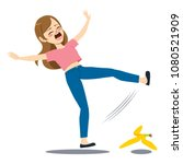 woman falling down on the floor ... | Shutterstock .eps vector #1080521909