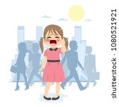 little young cute girl crying...   Shutterstock .eps vector #1080521921