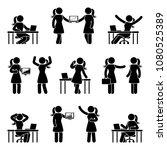 stick figure business woman... | Shutterstock .eps vector #1080525389
