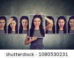 masked young woman expressing... | Shutterstock . vector #1080530231