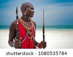portrait of a maasai warrior in ... | Shutterstock . vector #1080535784
