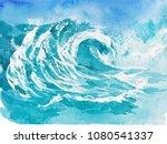 sky and sea. watercolor... | Shutterstock . vector #1080541337