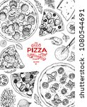 talian pizza and ingredients... | Shutterstock .eps vector #1080544691