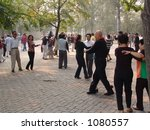Games and dancing to music at the Temple of Heaven in Beijing, China - stock photo