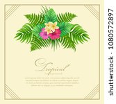 tropical frame  with  palm... | Shutterstock .eps vector #1080572897