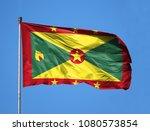 national flag of grenada on a... | Shutterstock . vector #1080573854
