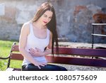 abdominal pain. stomach ache ... | Shutterstock . vector #1080575609