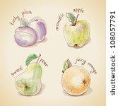 Vector Set Of Vintage Fruit