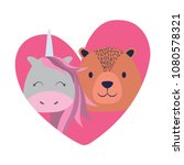 heart with cute animals | Shutterstock .eps vector #1080578321