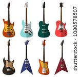 set of bright electric guitars | Shutterstock .eps vector #1080578507