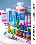 drug prescription for treatment ... | Shutterstock . vector #1080582095