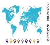 world map. set of color pointers | Shutterstock .eps vector #1080605729