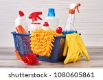 plastic bottles with cleaning... | Shutterstock . vector #1080605861