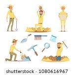 vector archaeologist characters ... | Shutterstock .eps vector #1080616967