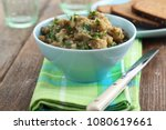 eggplant caviar with parsley in ... | Shutterstock . vector #1080619661