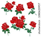 set of red roses isolated on...   Shutterstock .eps vector #1080620957
