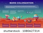 vector mars colonization... | Shutterstock .eps vector #1080627314