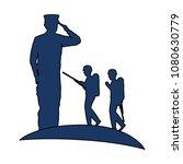silhouette of military saluting ... | Shutterstock .eps vector #1080630779