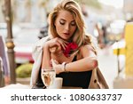 beautiful fair haired woman... | Shutterstock . vector #1080633737