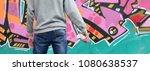 a young graffiti artist in a... | Shutterstock . vector #1080638537