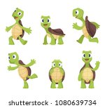 Stock vector cartoon vector turtle in various action poses 1080639734