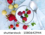 yoghurt with chia seeds of... | Shutterstock . vector #1080642944