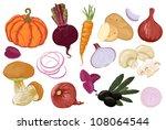 hand drawn vegetables. orange... | Shutterstock .eps vector #108064544