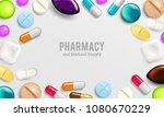 pills background. vitamin... | Shutterstock .eps vector #1080670229