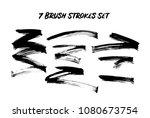 7 dry brush strokes set. paint... | Shutterstock .eps vector #1080673754