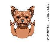 yorkshire terrier dog. horns... | Shutterstock .eps vector #1080705317