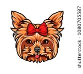 yorkshire terrier dog portrait. ... | Shutterstock .eps vector #1080705587