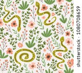 snakes and flowers. cute... | Shutterstock .eps vector #1080708659
