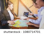 couples planning travel abroad. ... | Shutterstock . vector #1080714701