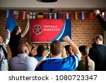 cheerful supporters watching... | Shutterstock . vector #1080723347